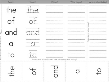 Sight Word Homework - Fry's List (First 100)