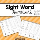 Sight Word Homework - Fry's List (First 100)