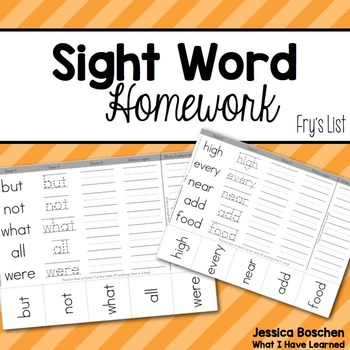 Sight Word Homework - Fry's List (First - Fifth Hundred Words)