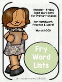 Sight Word Homework Lists (First Grade)