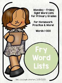 1st Grade Sight Word Homework Lists!