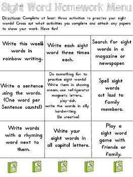 Sight Word Homework Menu