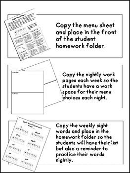 Sight Word Homework Menu for Grades 1-2