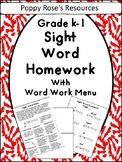 Sight Word Homework Menu for Grade K-1