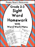 Sight Word Homework Menu for Grades 2-3