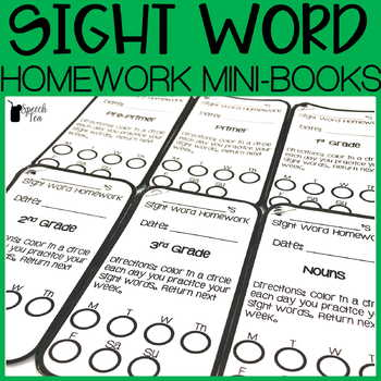 Sight Word Homework Mini Books