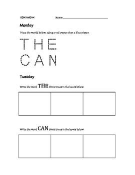 Sight Word Homework - Pre-K-K