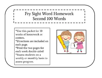 Sight Word Homework! Second 100 Fry sight words