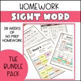 Sight Word Homework- The Bundle Pack
