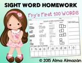 Sight Word Homework - Word Work Fry's First 100