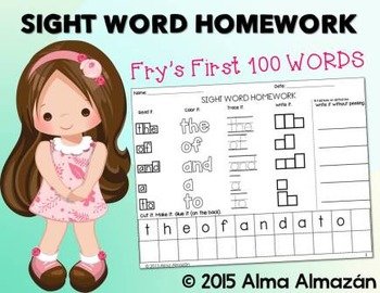 Sight Word Homework - Word Work Fry's First 100