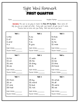Sight Word Homework for the Entire School Year (Fry Words 1-144)