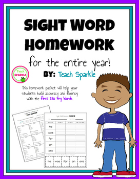 Sight Word Homework for the Entire School Year (Fry Words 1-180)