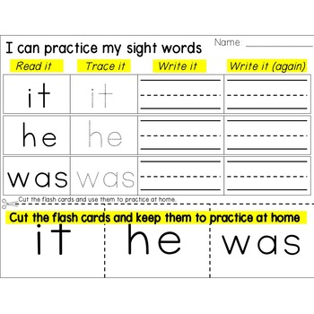 Sight Word Homework with Flash Cards {Read, Trace, Write} - Fry's First 100