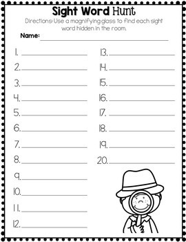 Sight Word Game - Carnival Hunt - Editable