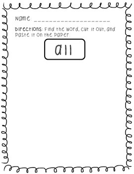 Sight Word Hunt (Primer); Kindergarten/First Grade