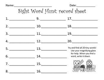 Sight Word Hunts: Whole Year