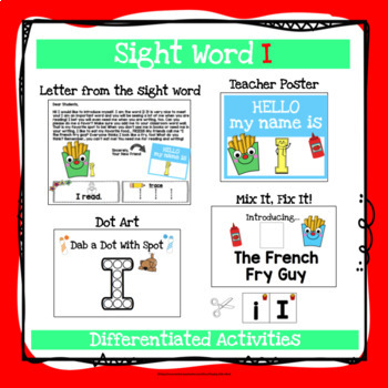 Sight Word I Activities