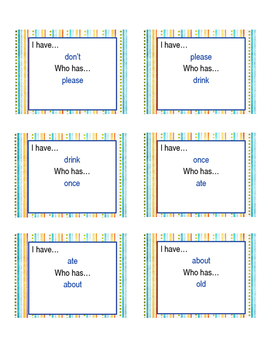 Sight Word I Have Who Has