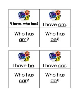 Sight Word I Have Who Has 3