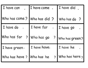 Sight Word I Have Who Has Flash Cards