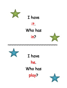 """Sight Word """"I Have, Who Has"""" Game Cards"""