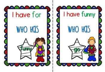 I Have Who Has Sight Word Games, Dolch Pre-Primer, Primer & 1st Grade
