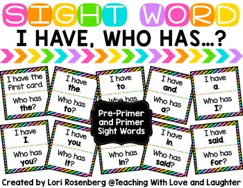 I Have Who Has Game {Pre-Primer and Primer Words}
