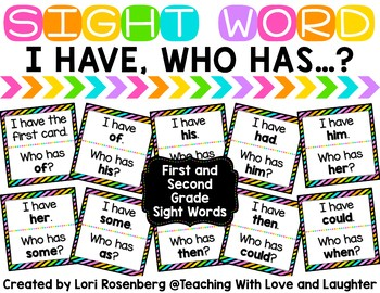 I Have Who Has Game {First and Second Grade Dolch Words}