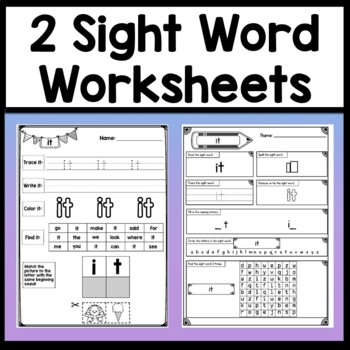 Sight Word IT {2 Sight Word Books and 4 Worksheets!}