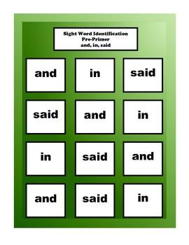 Sight Word Identification Pre-Primer