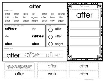 Sight Word Identification & Word Work Printables- 1st (Special Ed. / Autism)