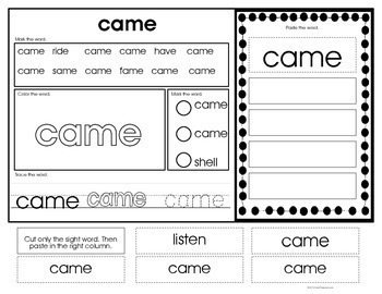 Sight Word Identification & Word Work Printables (K) Autism & Special Ed.