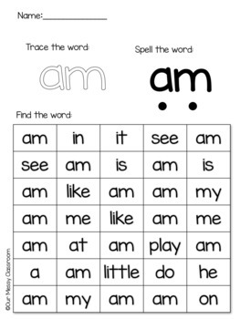 Sight Word Identification Worksheets