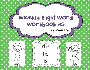"Sight Word Interactive Booklet ""she he is"""