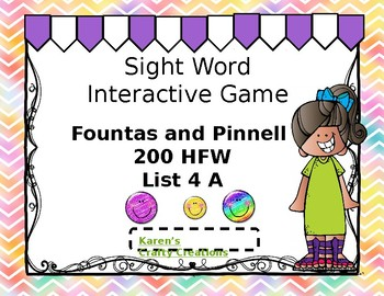 Sight Word Game:  Interactive - Fountas and Pinnell 200 HFW set 4 A