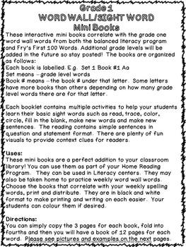 Sight Word Interactive Mini Books A-D Grade 1