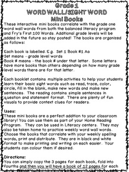 Sight Word Interactive Mini Books S-T Grade 1