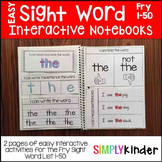 Sight Word Interactive Notebook - Fry 1-50