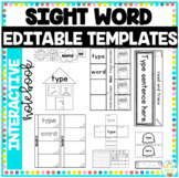 Sight Word Interactive Notebook Editable Templates