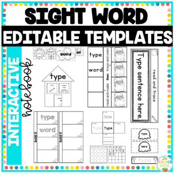 Sight Word Interactive Notebook Editable Templates