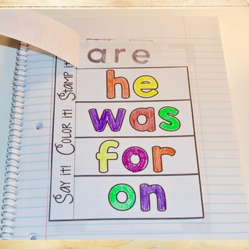 Fry Words 1-50 Interactive Notebook - Editable