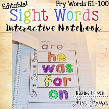 Fry Words 51-100 Interactive Notebook Activities - Editable