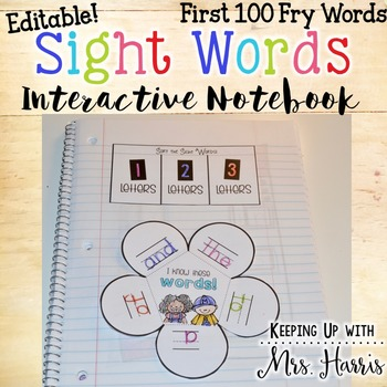 Fry Words 100 Interactive Notebook - Editable