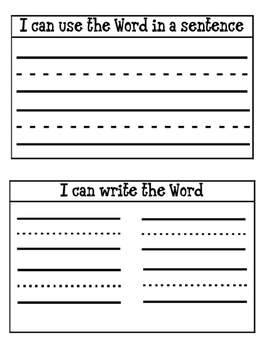 Sight Word Interactive Notebook Pages