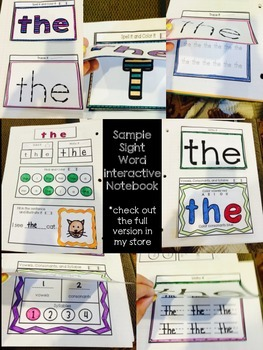 Sight Word Interactive Notebook Sample