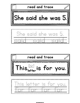 Sight Word Interactive Notebook (said, for, up, look) Pre-Primer Set 3