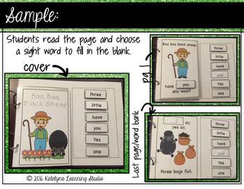 Sight Word Nursery Rhyme Interactive Book: Baa Baa Black Sheep