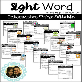 Sight Word Interactive Work Tubs / Stations