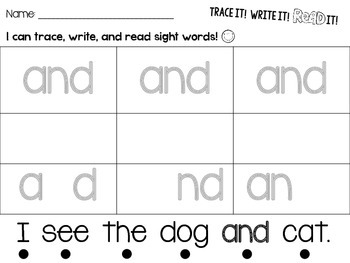 Trace It! Write It! Read It! Sight Word Intervention *Pre-Primer List*